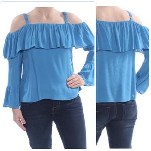 INC Blue Off Shoulder Bell Sleeve Top Sizes S & XL